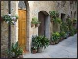 Flower Pots and Potted Plants Decorate a Narrow Street in Tuscan Village  Pienza  Italy