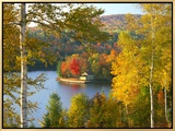 Summer Home Surrounded by Fall Colors  Wyman Lake  Maine  USA