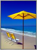 Yellow Chairs and Umbrella on Pristine Beach  Caribbean