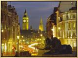 Evening View from Trafalgar Square Down Whitehall with Big Ben in the Background  London  England