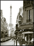 Eiffel Tower and Cafe on Boulevard De La Tour Maubourg  Paris  France