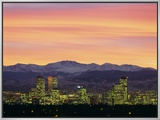 Skyline and Mountains at Dusk  Denver  Colorado  USA