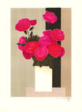 Untitled (White pot with pink flowers  brown background)