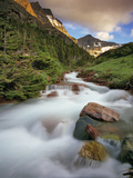 Baring Creek with Going to the Sun Mountain in Glacier National Park  Montana  USA