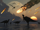 Hadrosaurs Graze Peacefully as Burning Meteors Fall Through the Sky