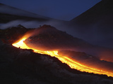 Mount Etna Lava Flow at Night  Sicily  Italy