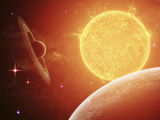 A Planet and its Moon Resisting the Relentless Heat of the Giant Orange Sun Pollux