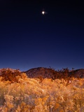 Sandia Mountains Desert Twilight Landscape Moon Rise  New Mexico
