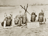 Women on a beach in California  1927