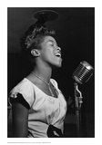 Sarah Vaughan at Microphone