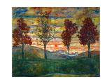 Quatre arbres, vers 1917 Reproduction d'art par Egon Schiele