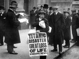 Newsboy Ned Parfett Announcing the Sinking of the 'Titanic' Outside the Offices of the White Star…