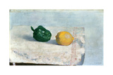Pepper and Lemon on a White Tablecloth  1901