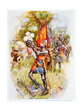 Edward the Black Prince at the Battle of Crecy in 1346  Illustration from 'stories of Royal…