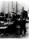 Pierre (1859-1906) and Marie Curie (1867-1934) in their Laboratory  c1900
