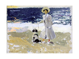 Lady and Dog on the Beach  1906