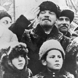 Vladimir Ilyich Lenin (1870-1924) in Red Square  Moscow  on November 7th  1919