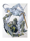 The Big Knight Is Slain by Sir Lancelot  an Illustration for 'Sir Lancelot of the Lake'  by Roger…