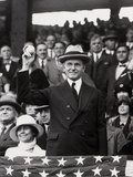 President Calvin Coolidge (1872-1933) Throws Out the First Ball of the 1924 World Series  1924