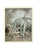 The Lion  Jupiter and the Elephant  Illustration from 'Aesop's Fables'  Published by Heinemann …