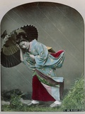 Young Japanese Girl in the Rain  c1900