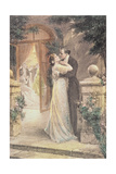Lovers Embracing on a Terrace  Greeting Card  c1900