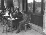 Soldiers Drinking on a Cafe Terrace