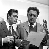 Marcello Mastroianni (1924-96) and Federico Fellini (1920-93)