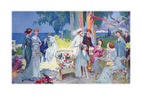 Tea Party in a Garden on the French Riviera  Illustration from 'La Vie Heureuse'  March 1913