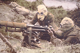 British Vickers Machine Gun Crew on the Some  Wearing Helmets as Protection Against German…