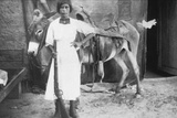 Pueblo Girl and Burro  1900