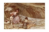 'The Little People Weave their Summer Curtains from Skeleton Leaves'  from 'Peter Pan in…