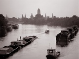 River Barges Coming Down on Chao Phraya River with a View of Wat Chaiwatthanaram  1980