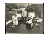 Blind Young Women and a Teacher Sewing in a Classroom at the New York Association for the Blind …