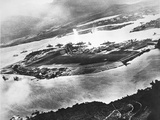 Aerial View of Ford Island and Battleship Row  Pearl Harbor  7th December 1941