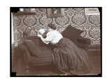 Marie Dressler at Home with Dog and Parrot  1905
