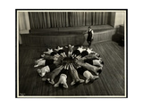 Young Blind Women Lying in a Starburst Pattern on the Floor of the Gymnasium at the New York…