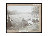 View of Men and Women Seated on Grass Watching Lawn Tennis in Central Park  New York  c1917