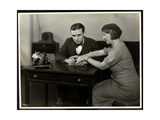 Woman Teaching a Blind Man to Read Braille at the New York Association for the Blind  111 East…