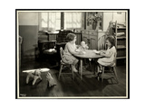 Two Blind / Visually Impaired Girls Eating at a Small Table with Doll at the New York Association…