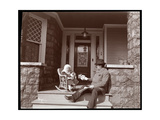 Edgar Smith with His Daughter on the Steps of His Residence in Elmhurst  Long Island  1902-3