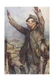 A German Soldier with His Hands in the Air Surrenders on the Battlefield  from 'L'Illustration' …
