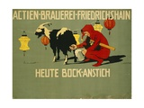 German Advertisement for 'Bock' Beer  Printed by Verlag Reklamekunst Curt Behrends Und Co …
