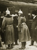 Trotsky and Russian Delegates Welcomed by German Officers at Brest-Litovsk  December 1917