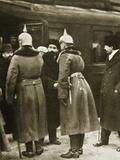 Trotsky and Russian Delegates Welcomed by German Officers at Brest-Litovsk  December 1917