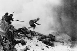 A British Officer Armed with a Revolver Leading His Men Forward with Fixed Bayonets  One of Seven…