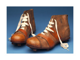Pair of Cup Final Special Boots with Wickerwork Pattern Stamped on the Toes  c1910