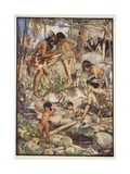 The Cave People  Illustration from 'A History of England' by CRL Fletcher and Rudyard Kipling …