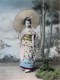 Young Japanese Girl in a Kimono and with a Parasol  MtFuji in the Background  c1900