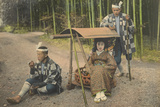 A Young Japanese Woman and Her Palanquin Bearers Rest on the Road  1921